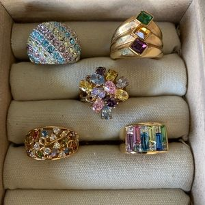 Vintage costume multi color stone rings